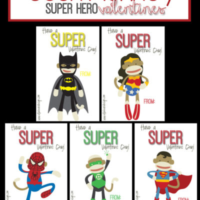 Sock Monkey Super Hero Valentines
