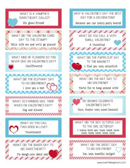 Valentine's Day Lunchbox Jokes | www.overthebigmoon.com