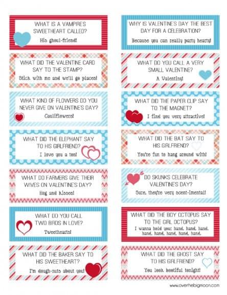 Valentine's Day Lunchbox Jokes | www.overthebigmoon.com