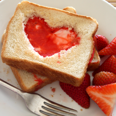 Heart-Shaped Eggs in Toast