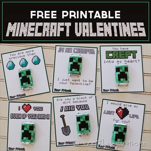 Minecraft Printable Valentines - available in green or pink! From www.overthebigmoon.com!