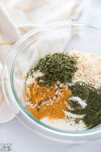Vegetable Dip Ingredients ready to mix! From overthebigmoon.com!