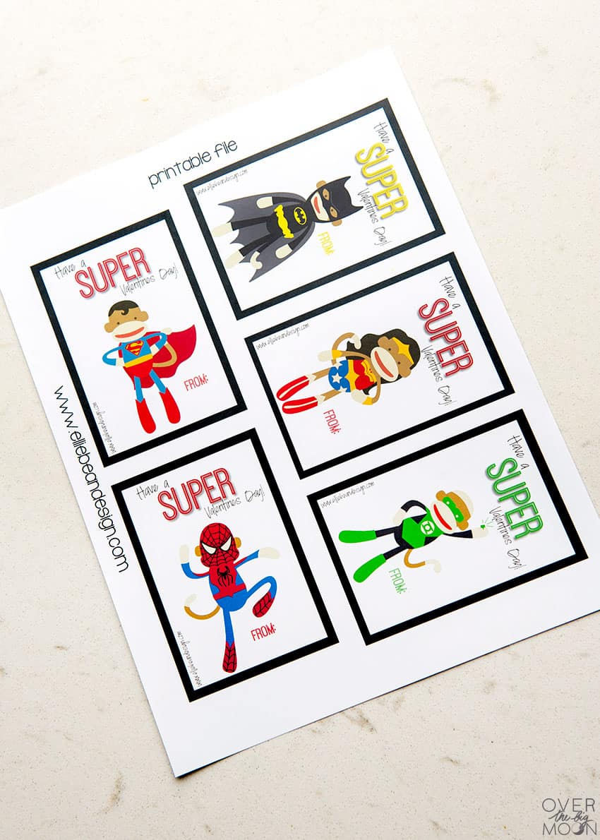 Printable Sock Monkey Superhero Valentine's Printable! From overthebigmoon.com!
