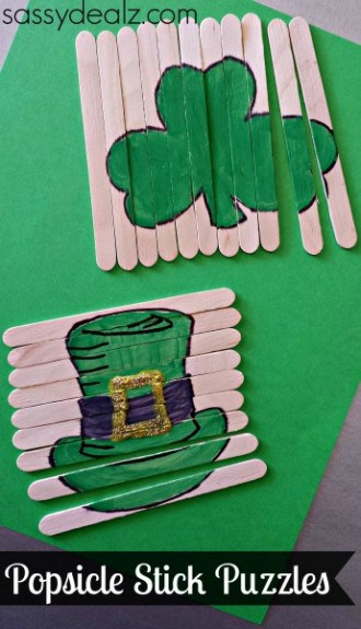 popsicle stick puzzles craft 330x575 5 Easy St. Patricks Day Traditions