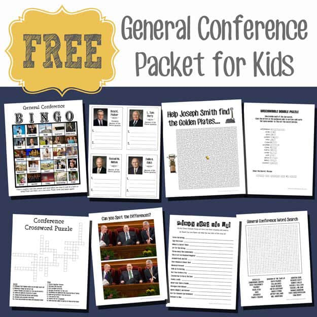 General Conference Packet For Kids Over The Big Moon