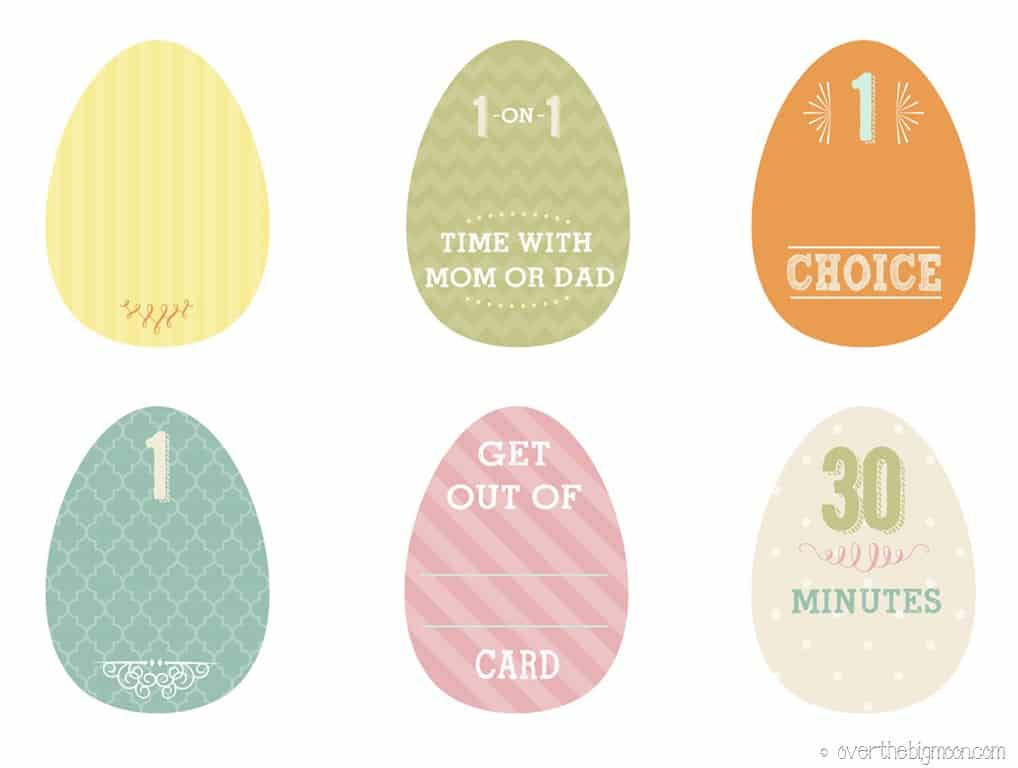easter egg printable fillers easter privilege cards1 - Easter Egg Printables
