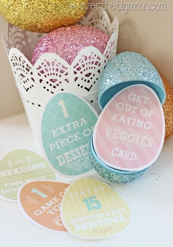 Egg Egg Privilege Cards Free Printables - these are such a fun addition to any egg hunt! Kids of all ages love these! From overthebigmoon.com!