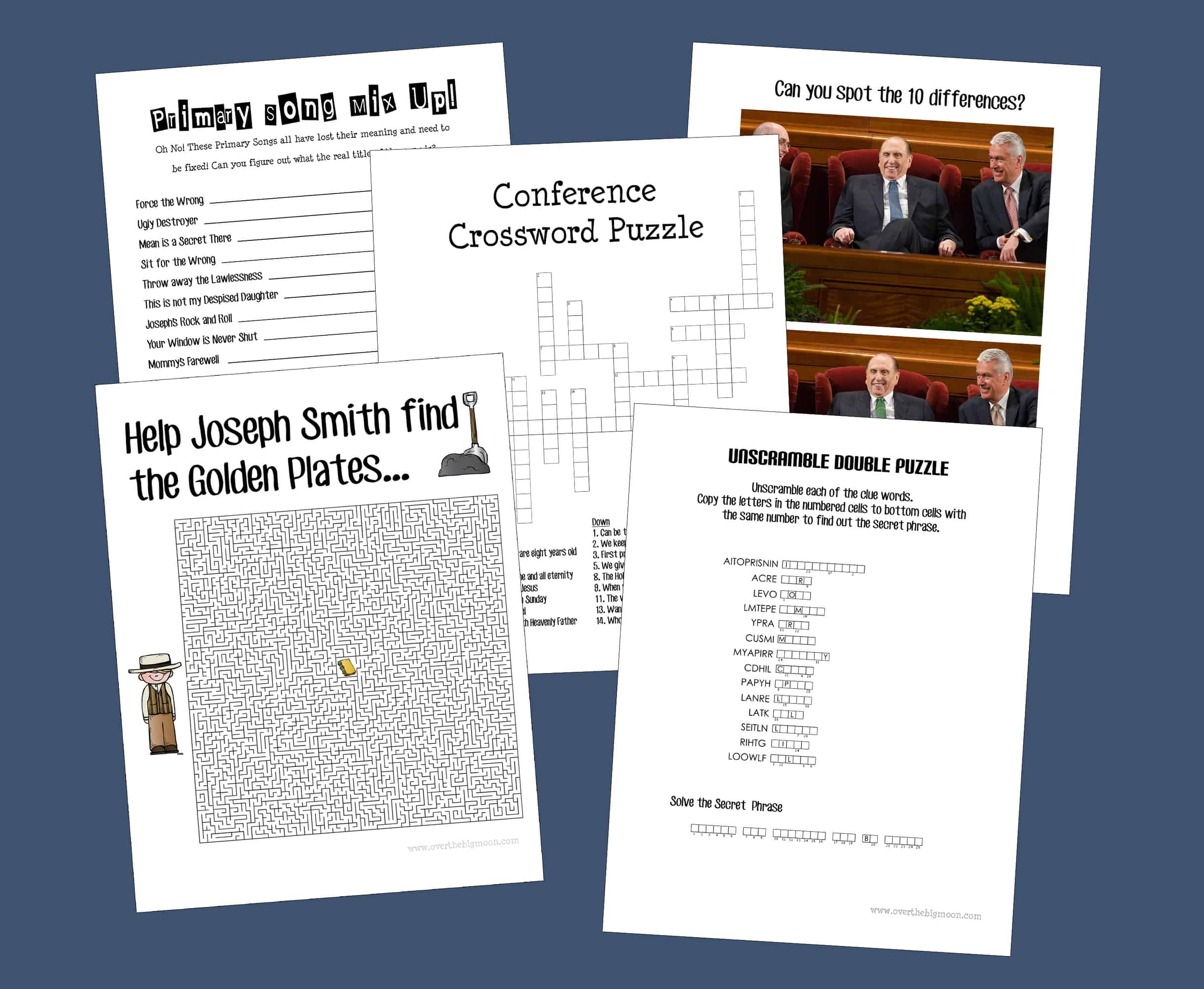 General Conference Packet for Kids -- free 15+ page packet for senior primary kids! From overthebigmoon.com!