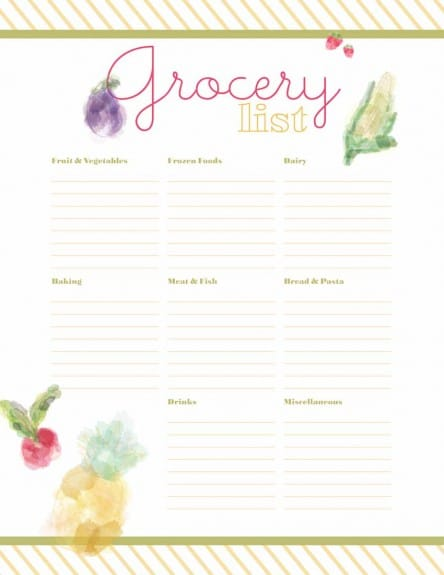 Grocery List2 444x575 Grocery List Printable from Designs by Miss Mandee