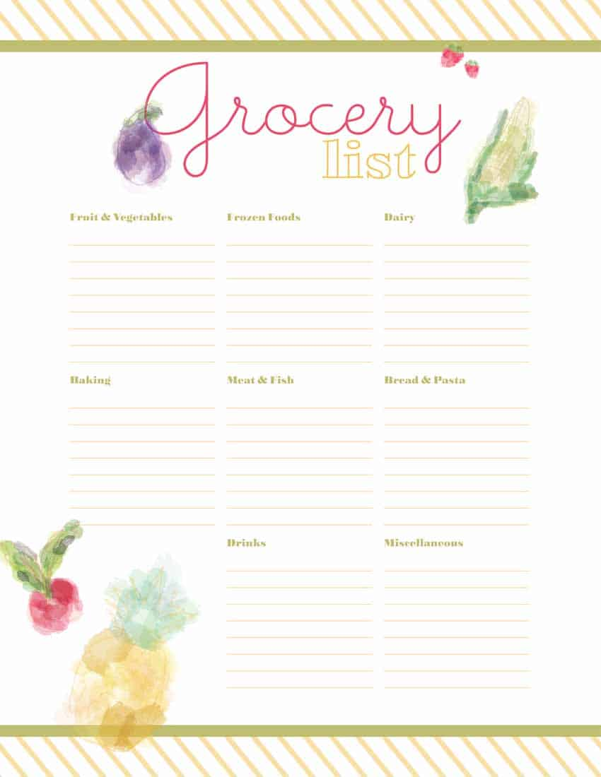 Grocery List Printable Over The Big Moon