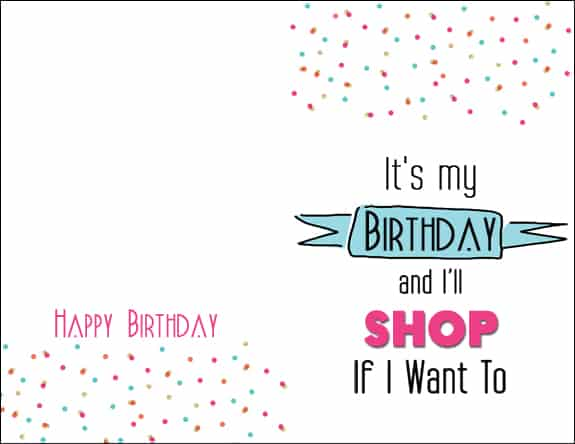 Shop Card Its My Birthday Printable Cards & 8x10s