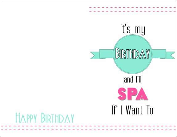 Spa Card Its My Birthday Printable Cards & 8x10s