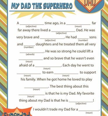 Fathers Day Mad Lib Printable