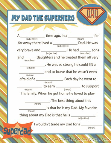Free Printable Fathers Day Mad Lib