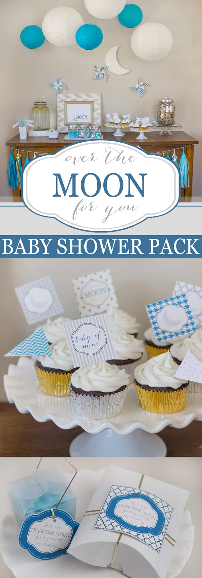 Quot Over The Moon For You Quot Printable Baby Shower Pack