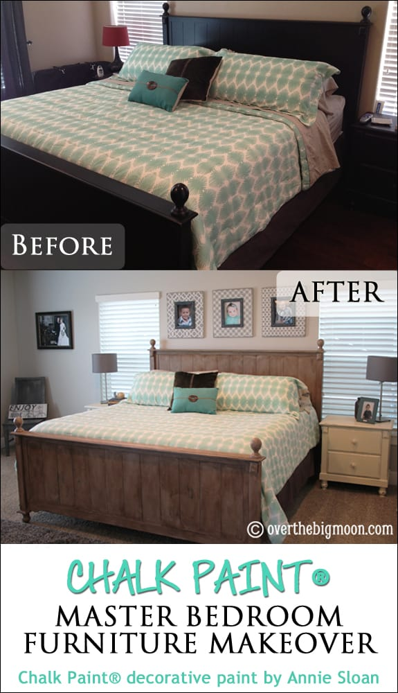 Chalk paint master bedroom furniture makeover over the big moon for How to paint my bedroom furniture