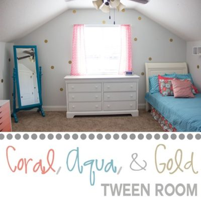 Coral, Aqua, and Gold Tween Room