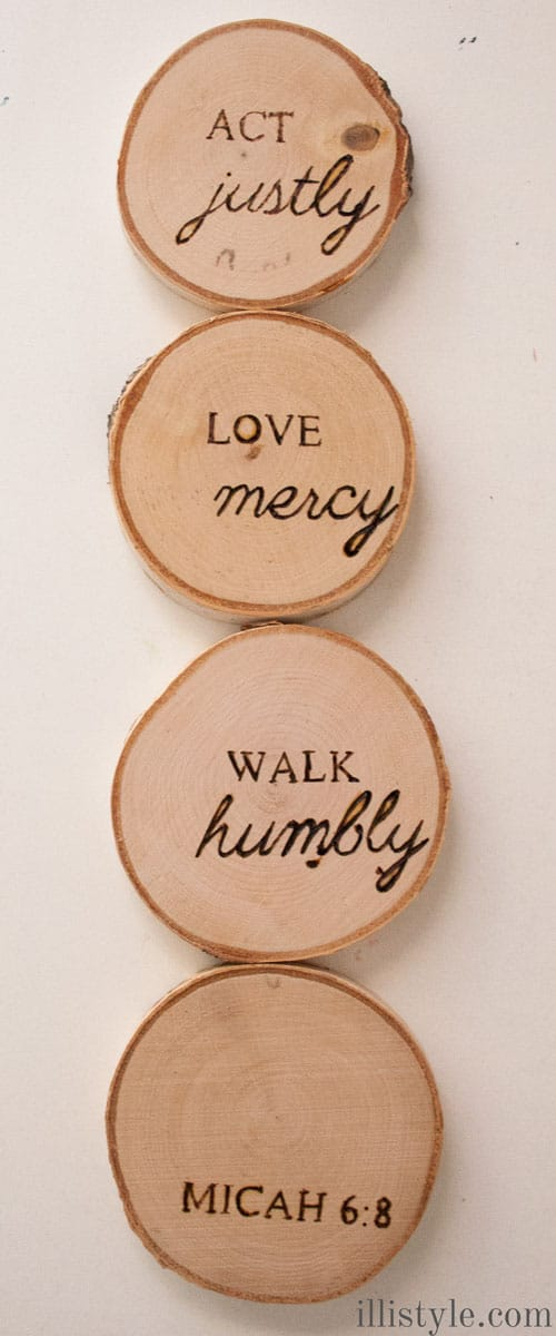 Micah 6:8 wood burned coasters - illistyle.com