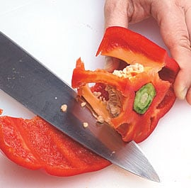 how to cut red pepper for stir fry