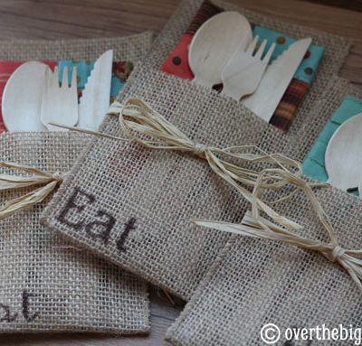 No Sew Burlap Utensil Holders + How to Host an Autumn Market Party Part 4