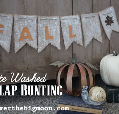Fall White Washed Burlap Bunting