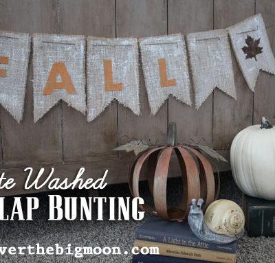 Fall White Washed Burlap Bunting