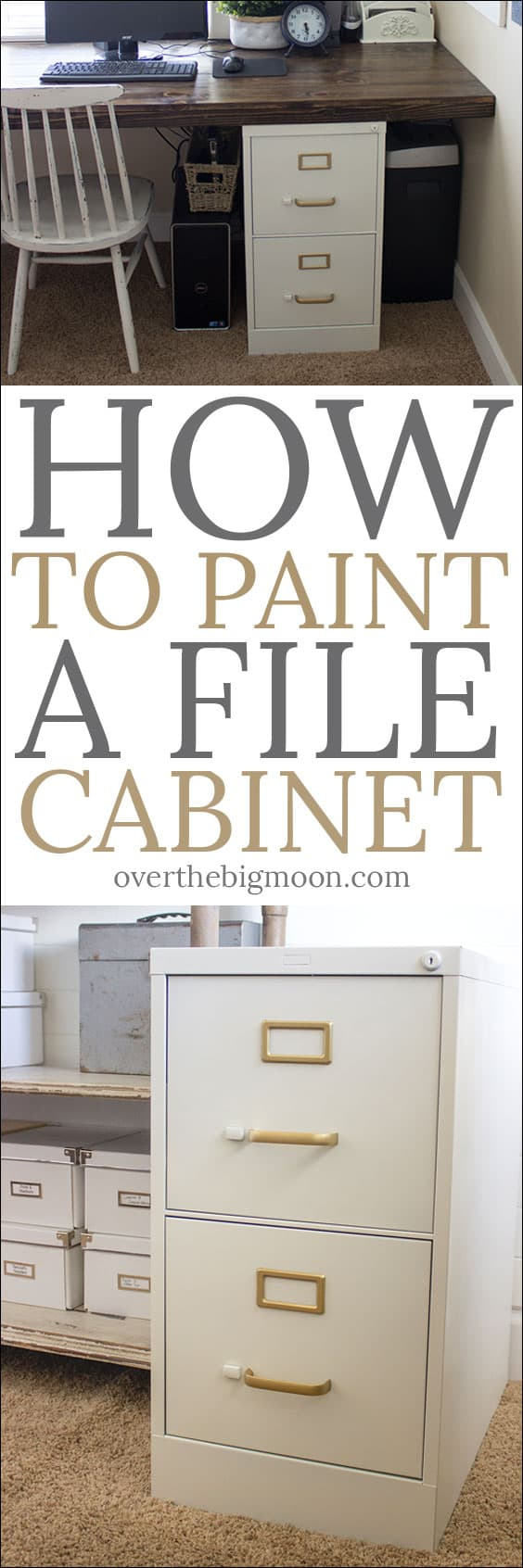How to Paint a File Cabinet -- this tutorial shares the process and products I used to paint an ugly file cabinet into something that isn't such an eye sore! From overthebigmoon.com!