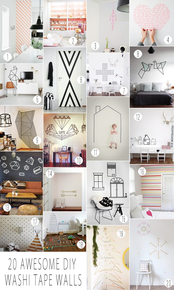 washi tape wall decals over the big moon. Black Bedroom Furniture Sets. Home Design Ideas