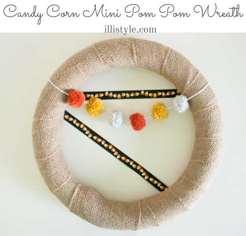 Candy Corn Mini Pom Pom Wreath
