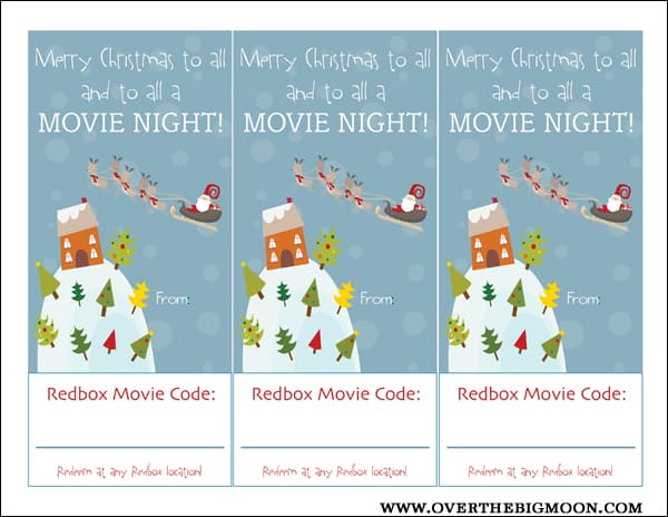 Movie gift cards for christmas