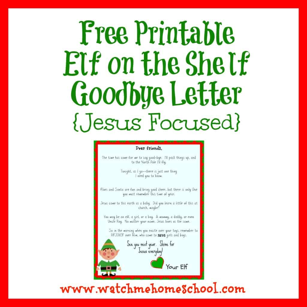 It is a graphic of Massif Elf on the Shelf Goodbye Letter Free Printable