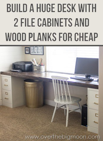 DIY File Cabinet Desk - this tutorial is not very hard and SO much cheaper then buying a desk this huge!