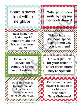 Elf on the Shelf Printable Good Deed Cards Over The Big Moon #0: Sample Good Deed Cards