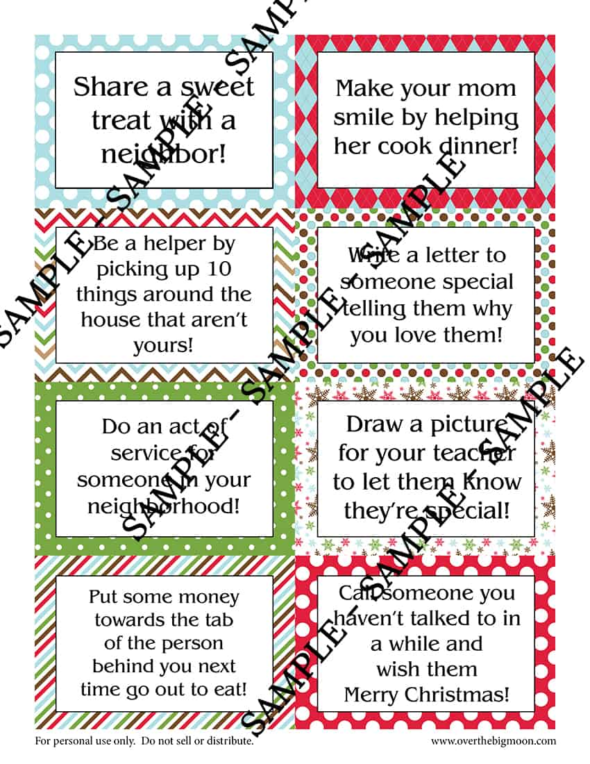 Printable Elf on the Shelf Good Deed Cards - Over the Big Moon