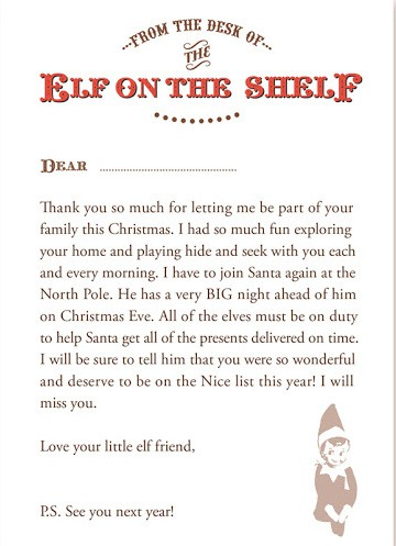 Slobbery image for elf on the shelf printable letter