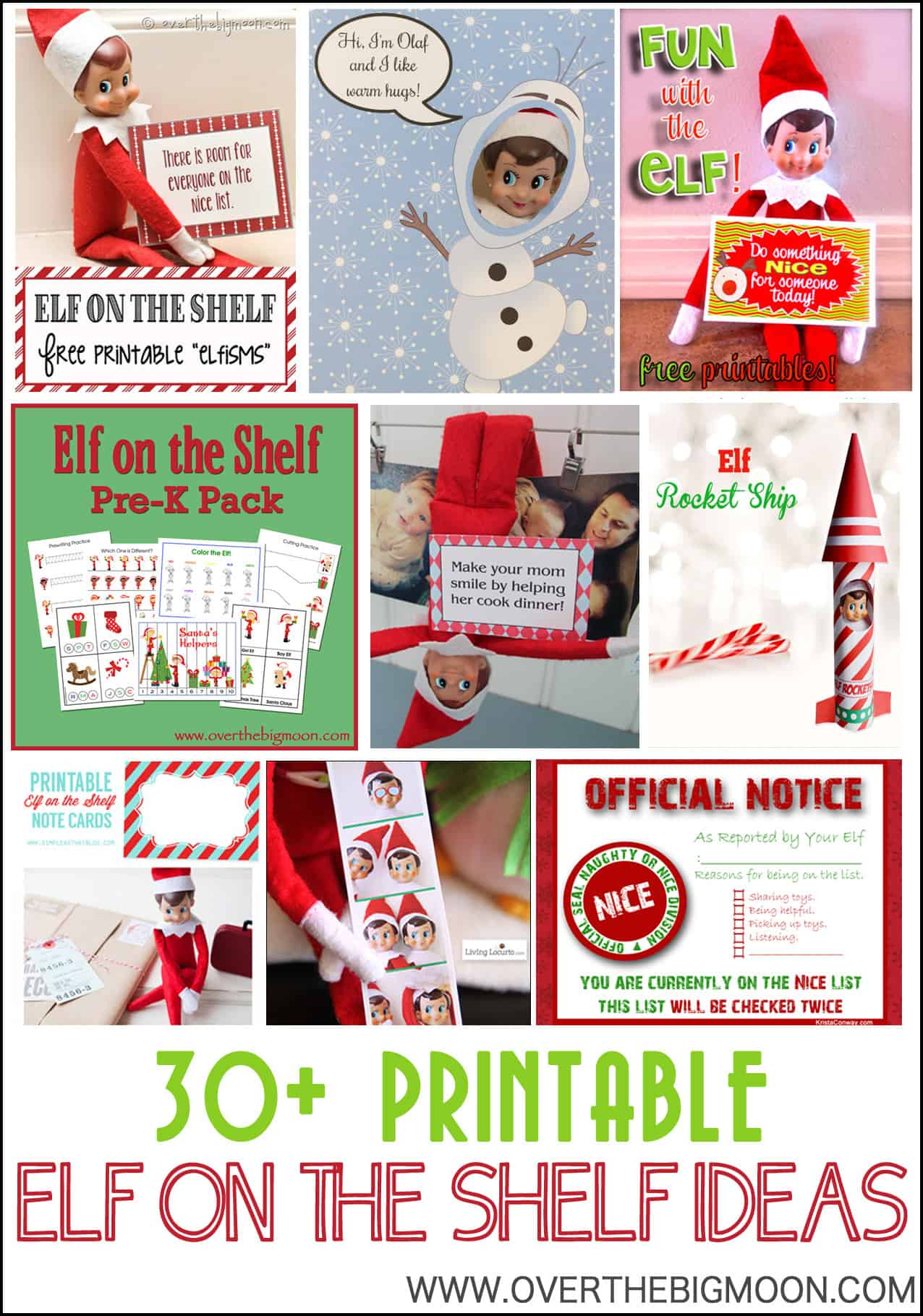 elf shelf printable ideas