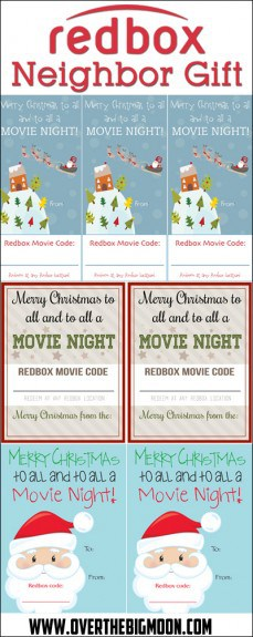 Redbox Neighbor Gift Idea + Printables! Such a fun, easy and affordable neighbor gift idea!