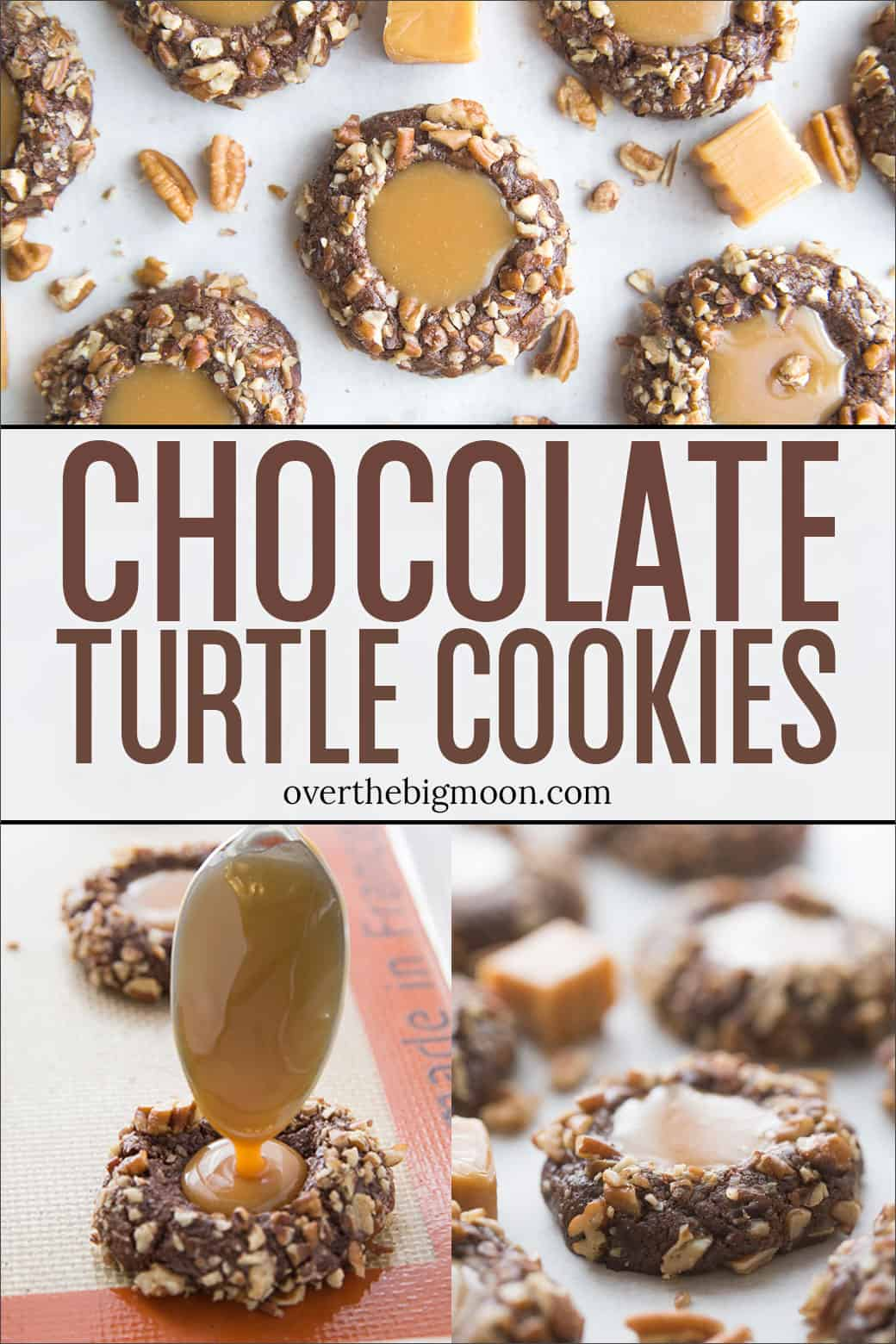 The BEST Chocolate Turtle Cookies - this chocolate pecan cookie with caramel topping is sure to put you in a good mood! From overthebigmoon.com!