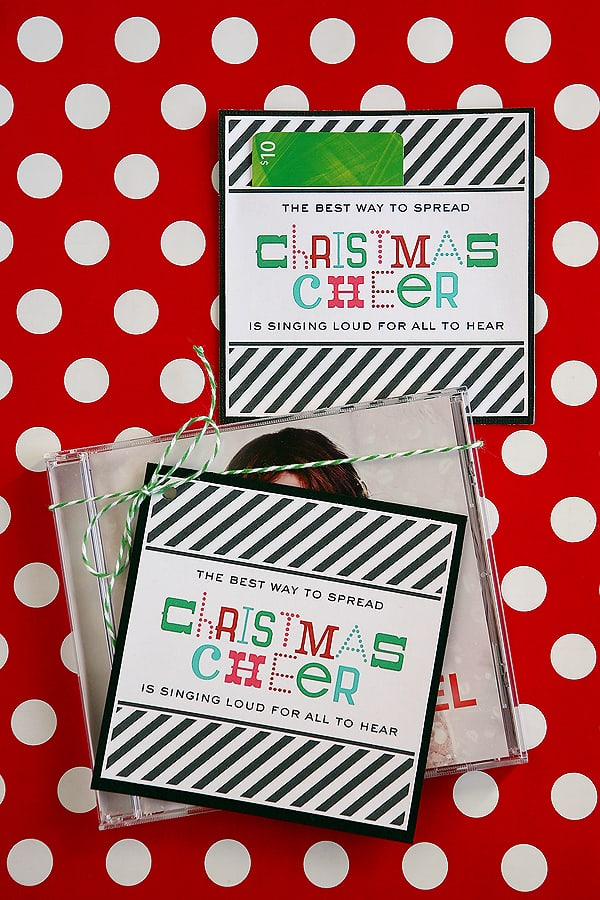 Christmas Cheer Printable - pair with a gift card for Christmas CD for your teachers! Plus, lots of other fun Teacher Gift Ideas! | overthebigmoon.com!