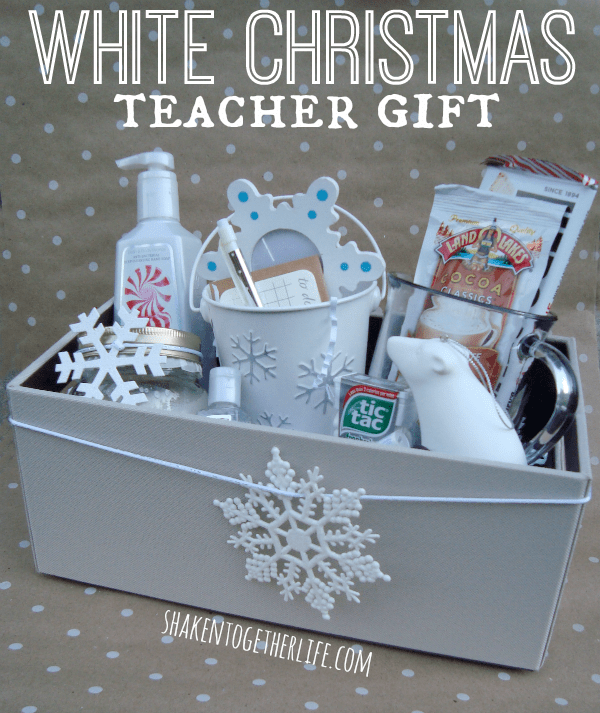 White Christmas Teacher Gift Idea + other fun gift ideas! All at  overthebigmoon.com - 15 Easy Christmas Gifts For Teachers - Over The Big Moon