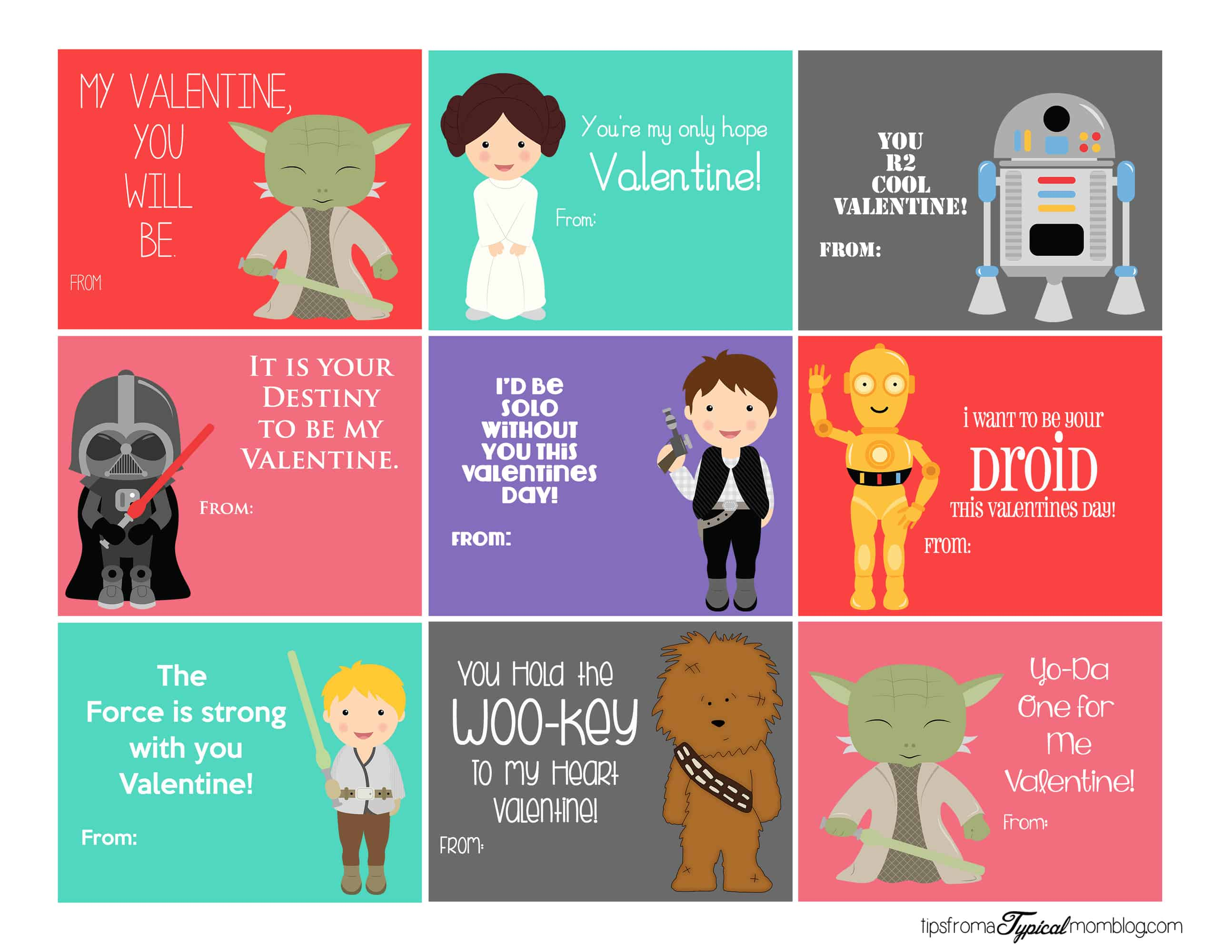 It is a photo of Adorable Star Wars Printable Cards