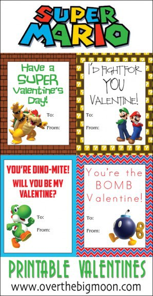 Super Mario Printable Valentines Over The Big Moon
