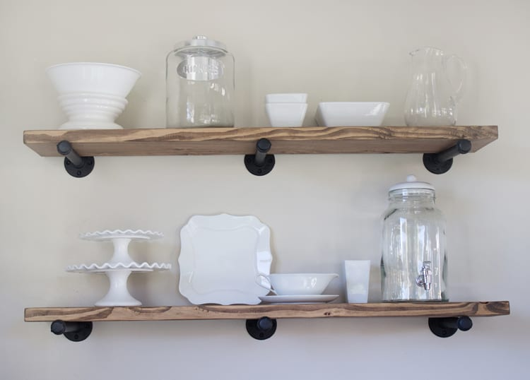 over the big moon diy pipe shelving