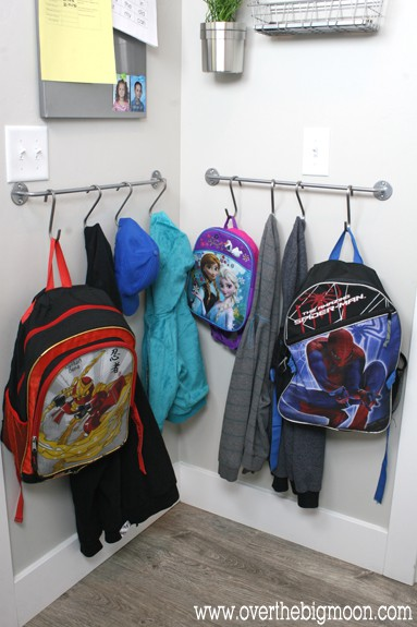 Diy ikea mudroom over the big moon Ideas for hanging backpacks