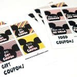 Printed Gift and Food Coupons for Disneyland