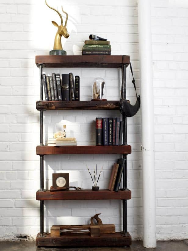 Over the big moon creative pipe shelving ideas
