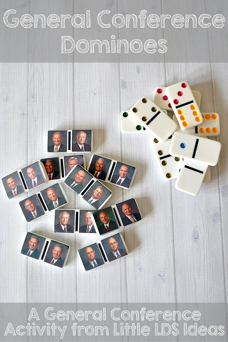 General Conference Dominoes and other fun General Conference Ideas for Kids! From overthebigmoon.com!