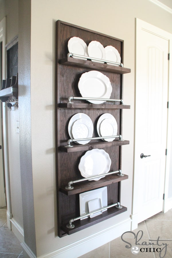 Industrial-Pipe-Plate-Rack-DIY & Industrial-Pipe-Plate-Rack-DIY - Over The Big Moon