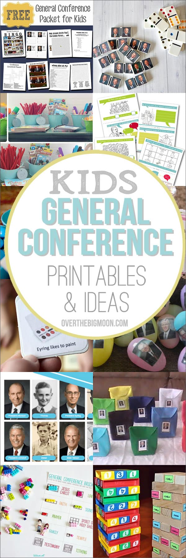 General Conference Printables and Ideas for Kids -- these ideas are the perfect way to help keep your kids entertained and engaged during General Conference! From overthebigmoon.com!