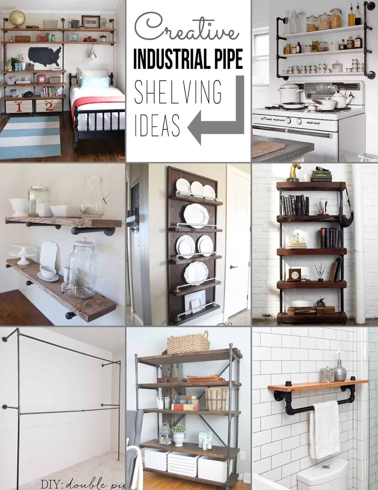 Creative pipe shelving ideas for Creative shelf ideas